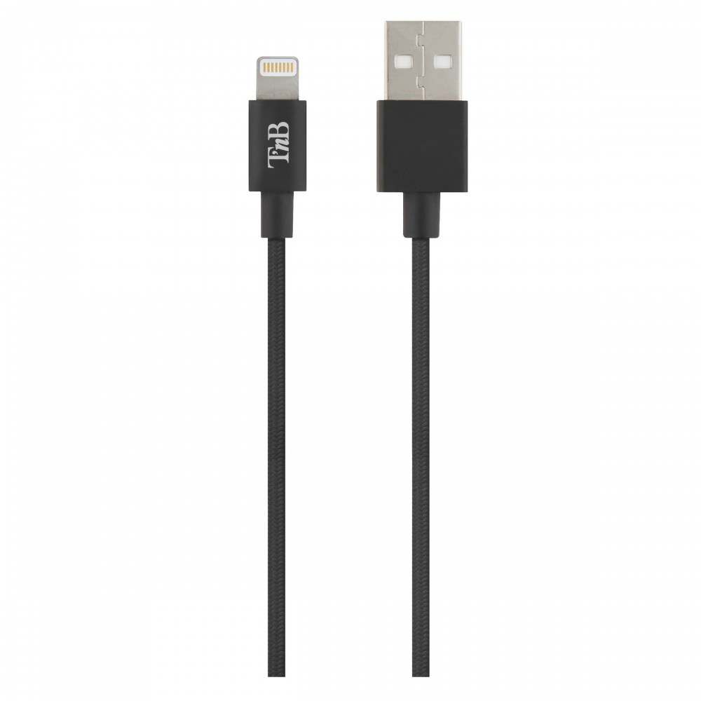 USB/LIGHTNING BRAIDED CABLE 2M BLACK