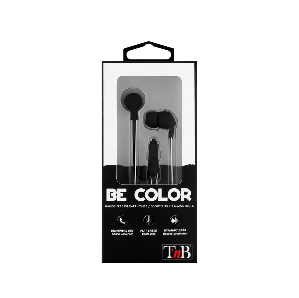 BLACK BE COLOR EARPHONES + MIC