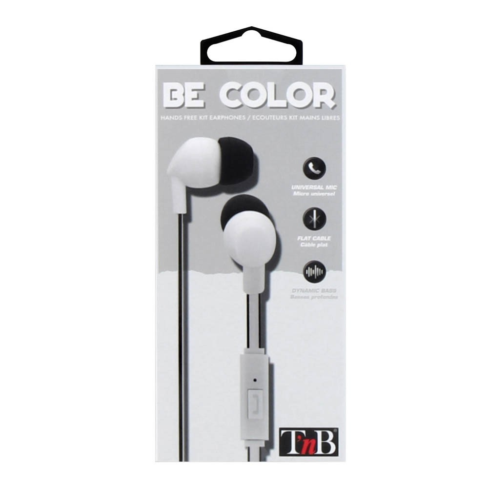 WHITE BE COLOR EARPHONES + MIC