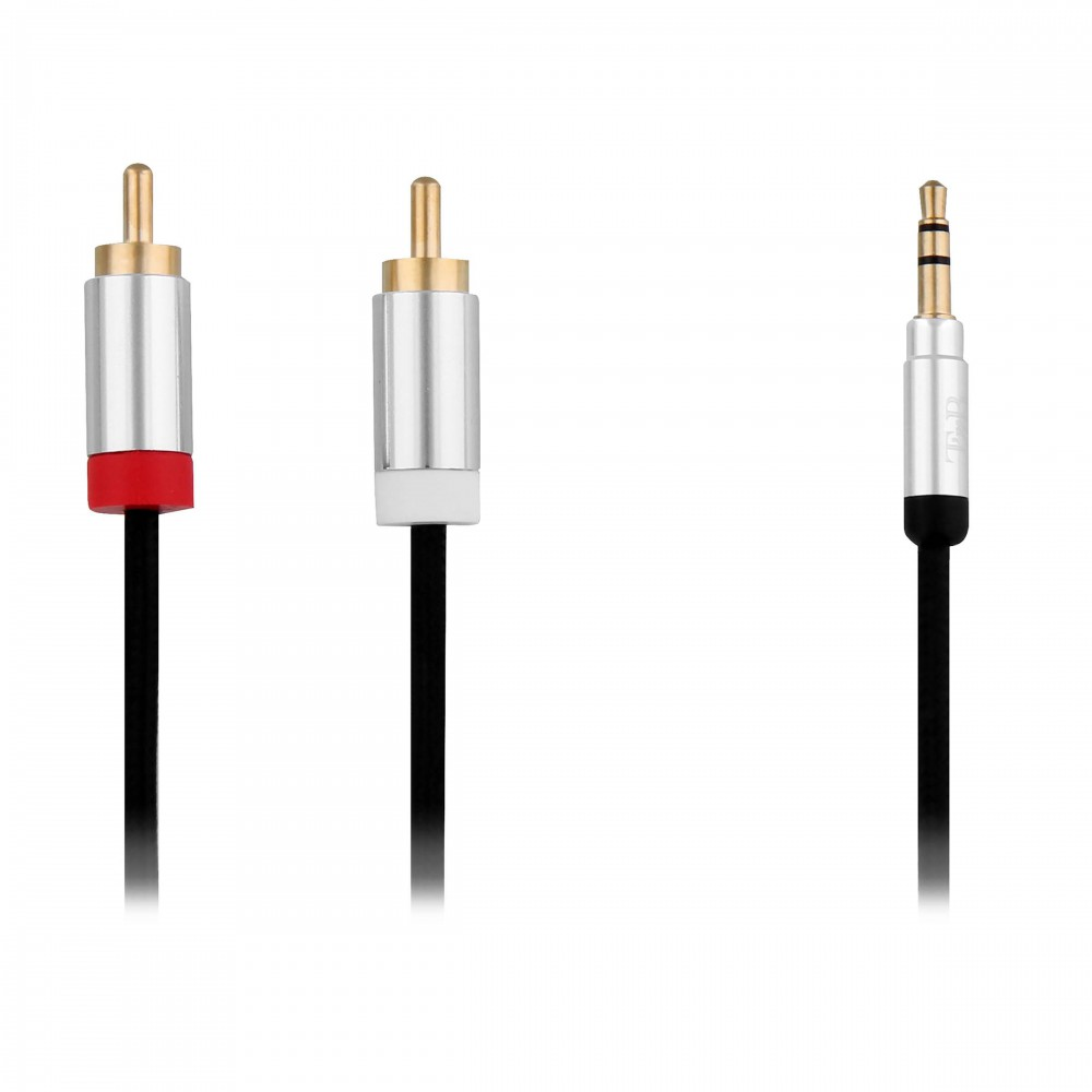 GOLD AUDIO CABLE 2RCA M/3.5MM 3M