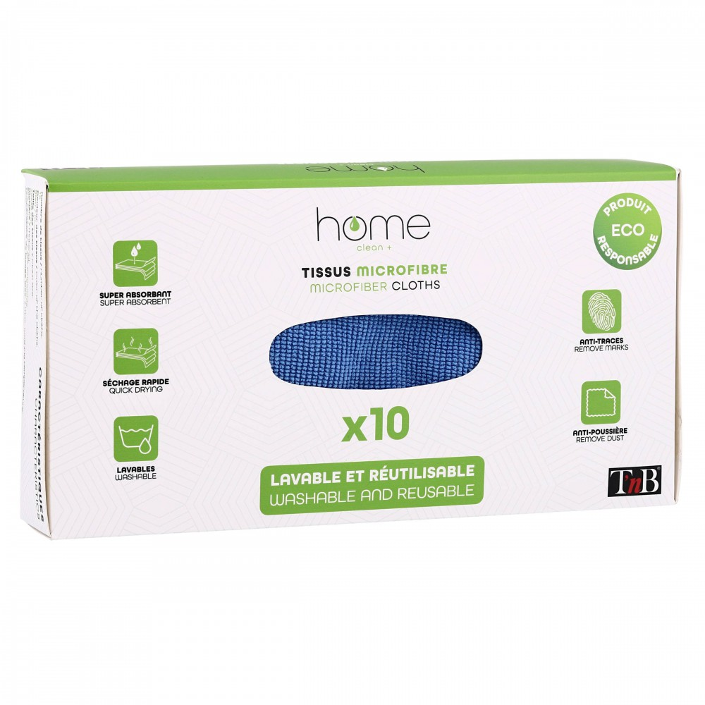 BOX OF 10 MICROFIBRE CLEANING CLOTHS